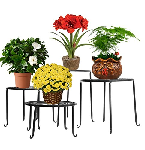 4in 1 Metall Blumen Regale Pflanzenständer Tisch Pflanzentisch Blumenständer (Schwarz)