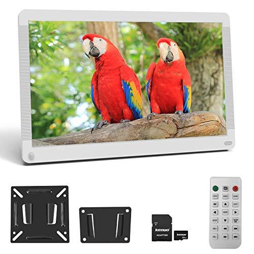 Digitaler Bilderrahmen, Elektronischer Fotorahmen 17 Zoll 1920 * 1080 HD IPS Display mit Bewegungssensor Kalender/Alarm/Foto/Musik/Video Player/automatisch drehen/Auto on/Off Timer mit 32GB SD, Weiß