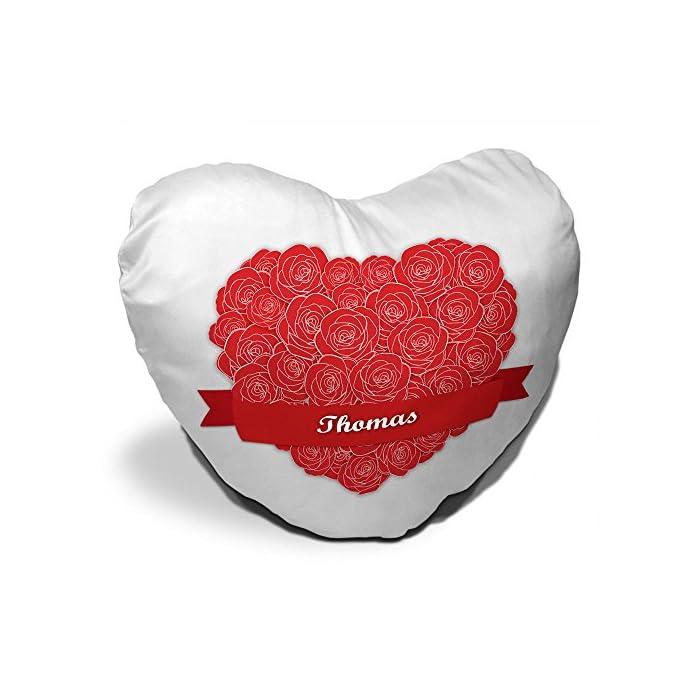 Herzkissen mit Namen Thomas und schönem Motiv mit Rosen-Herz zum Valentinstag - Herzkissen personalisiert Kuschelkissen…