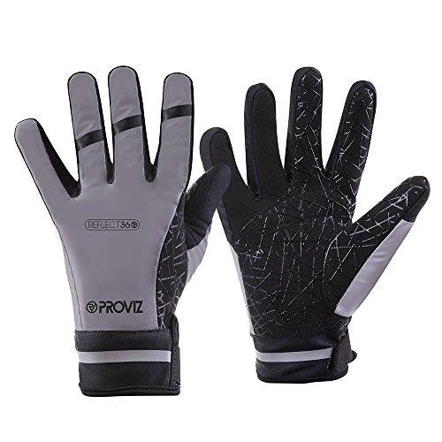 Proviz Unisex Reflect361Reflektierende Handschuhe, wasserdicht Zum Laufen/Radfahren/Wandern, Grau, Größe M (Reflektierende Handschuhe Radfahren)