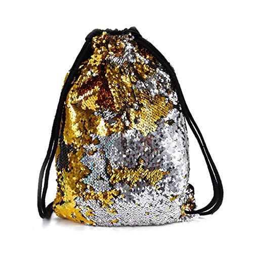 Zhangcr Reversible Pailletten Kordelzug Rucksack Glitzer Cinch Pack Taschen Flip Pailletten Shining Sport Rucksack für Kinder Erwachsene Cinch-laptop