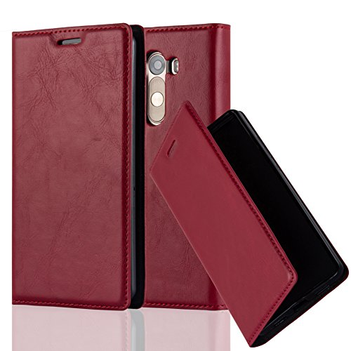 Cadorabo Hülle für LG G3 - Hülle in Apfel ROT – Handyhülle mit Magnetverschluss, Standfunktion und Kartenfach - Case Cover Schutzhülle Etui Tasche Book Klapp Style