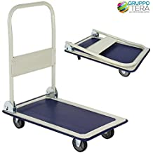 Bakaji - Carro portaequipajes - Carro porta-todo, ideal para transporte con mango plegable, carga máxima de la plataforma 150kg, 4ruedas