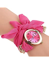 Rose Red : ALCYONEUS Casual Sweet Bow Cloth Strap Round Dial Quartz Bracelet Wrist Watch For Woman