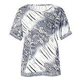 Damen Kurze Ärmel Druck Splicing Bluse Übergröße Tops Casual lose Shirt O-Ausschnitt Oberteile(Weiß,EU-42/CN-2XL