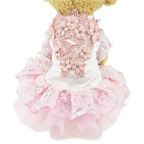 Spitze Blume Hund Puppy Luxus Kleid Haustier Katze Tutu Rock Prinzessin Hochzeit Kleid Hund Chihuahua Kleidung Braut Kostüm (Chihuahuas In Halloween Kostüme)