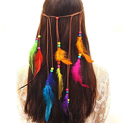 Diadema cinta de pelo hippie con plumas colores y abalorios de madera para peinados sueltos o recogidos resultados ideales novedad 2018 de OPEN BUY