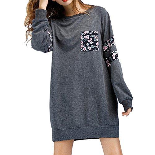 eb19f2c0531b6e Damen Langarm Sweatshirt Kleid Rundhals Patchwork Pullover Kleid Mädchen  Oberteil Mit Tasche Grau