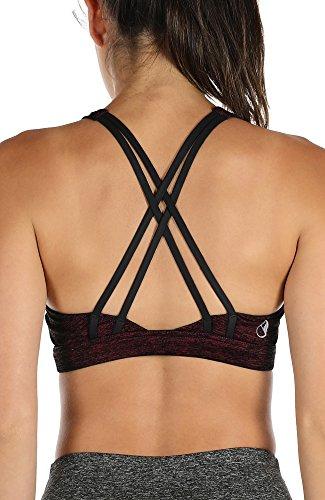 icyzone Sport-BH Damen Yoga BH mit Polstern - Kreuz Rücken Bustier Jogging Fitness Oberteil Mittlerer Halt (S, Wine)