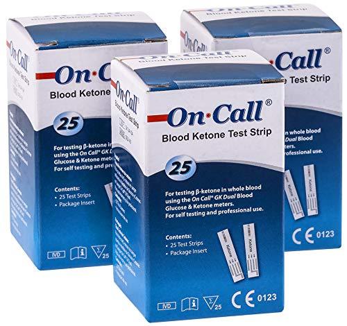 On Call GK Dual Ketone Teststreifen im günstigen 3-er Pack   3 x 25 Stück passend für den GK Dual Blood Glucose & Ketone Meter   zur laborgenauen Messung von Blut-beta-Keton