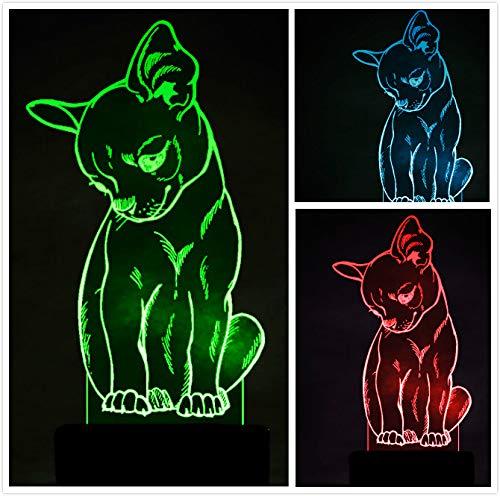 3D Chihuahua Chien Lampe Illusion Optique LED Veilleuse Optiques Illusions Lampe de Nuit 7 Couleurs Tactile Lampe de Chevet Chambre Table Art Déco Enfant Lumière de Nuit avec Cable USB