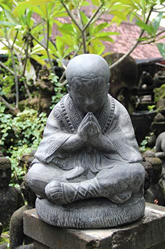 Ciffre XXXL ca. 50cm Stein Buddha Mönch Antik Look Massiv Steinfigur Skulptur Feng Shui Garten Deko Wetterfest Lava Steinguss ca 20 Kilo STB4