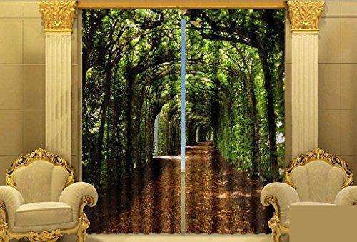 GFYWZ foresta di stampa 3D tenda finestra tende Home Decor spessore isolamento finestra oscuranti , 2 , wide 2.03x high 2.13