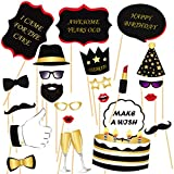 #1: PaRtY BaZz DIY Happy Birthday Party Props for Birthday Party Photo Booth Props stand/ Birthday Party Props for Kids / Birthday Decoration – Suitable for His or Hers Birthday Celebration Photo Booth (22 Pcs)