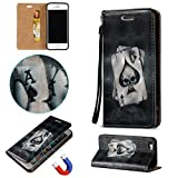 For iPhone SE Case [Waterproof],Vandot Wallet Case for Apple iPhone SE 5S 5 PU Leather Flip Stand Magnetic Cover 3D Relief Painting Pattern-Ace of Sprade Black Skull+Anti Dust Plug+USB Data Line