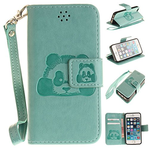 iPhone Case Cover Solid Color 3D mignon Panda embossé Housse en cuir PU avec des fentes de carte Lanyand pour IPhone SE 5S ( Color : 6 , Size : IPhone SE 5S ) 4