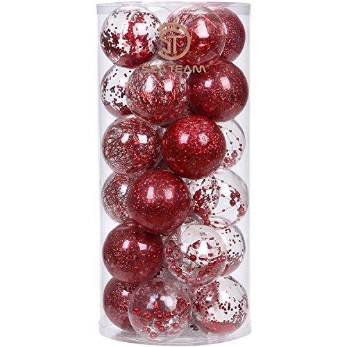 Sea team set di eleganti palle di natale ornamentali infrangibili, in plastica trasparente, con delicato riempimento decorativo, 70mm, plastica, red, 70mm/2.76