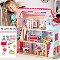 Infantastic Wooden Doll House - 76 x 30 x 82cm, 3 Storeys, 5 Rooms, Furniture and Accessories Included (16 Pcs), for 13 cm / 5.1 inch Dolls - Toy House