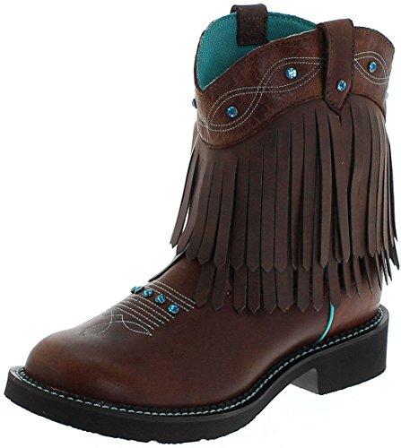 Justin Boots L2932 B Cognac/Damen Westernreitstiefel Braun/Damenstiefel/Reitstiefel/Western Riding Boots, Groesse:39.5 (9.5 US) (Western-boot Braun Rindsleder)