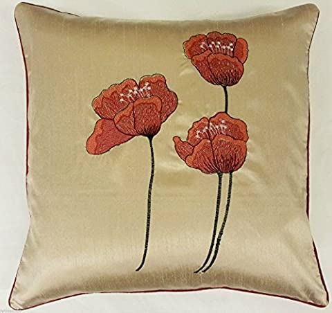 2 X CREAM RED FAUX SILK POPPY 18