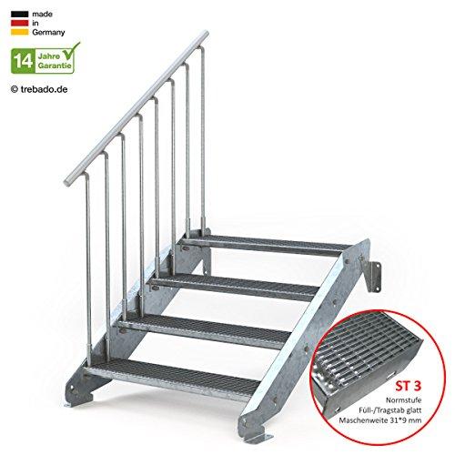 Außentreppe 4 Stufen 100 cm Laufbreite - einseitiges Geländer links - Anstellhöhe variabel von 62 cm bis 84 cm - Gitterroststufe ST3 - feuerverzinkte Stahltreppe mit 1000 mm Stufenlänge als montagefertiger Bausatz