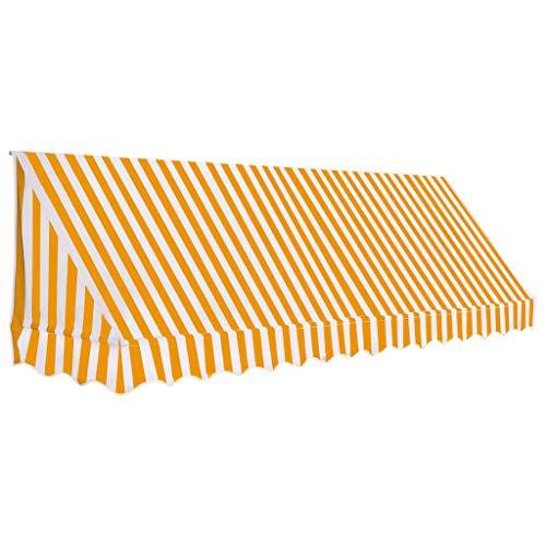 Festnight- Bistro-Markise   Sonnenmarkise Sonnenschutz   Balkonmarkise   Terrasse Markise   Orange und Weiß/Anthrazit/Creme   Textilgewebe mit Stahlrahmen 150/300/ 350 x 120 cm Bistro Creme