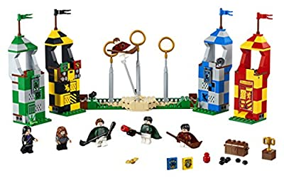 LEGO 75956 Harry Potter Quidditch Match Building Set, Gryffindor Slytherin Raven Claw and Hufflepuff Towers, Hogwarts, Wizarding World, Magical Fun Toy