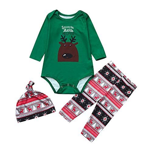 OverDose Damen Frohe Weihnachten Cartoon Bluse Hosen Familie Eltern-Kind-Pyjamas Nachtwäsche passende Weihnachten Home Party Soft Slim Set(Kind 1,12-18 Monate)