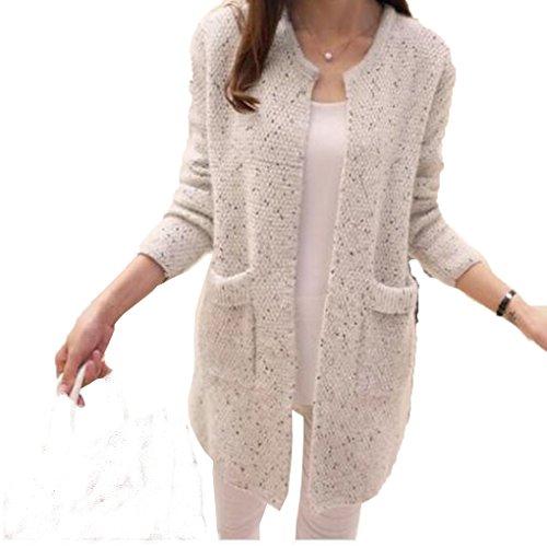Donne Primavera / Autunno Maglia media manica lunga Cardigan manica lunga maglia sottile Slim Tasca maglia sciarpa Beige