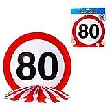 80.Geburtstag Tischdeko Pappe / PapierTischaufsteller Schild: 25,5 cm Ø