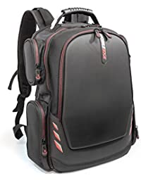 """Mobile Edge Core Gaming Backpack With Molded Front Panel 17""""-18"""" Black With Red Trim (MECGBP1)"""