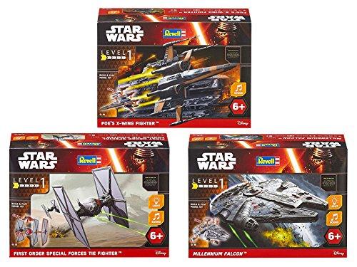 Revell Build & Play S2742 Star Wars Set mit 3 Bekannten Raumschiffen, Mehrfarbig