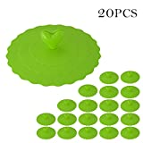 20Pcs Silicone Cup Lids Anti-Dust Mug Cover Food-grade Silicone Drink Covers Suction Lids by Samber Green - Samber - amazon.co.uk