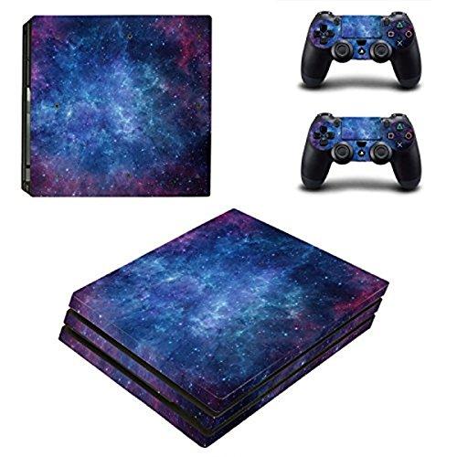 Design Folie Aufkleber Sticker schützende Haut Schale für Sony Playstation 4 Pro Konsole und 2 Dualshock Controller (Himmel Sterne) (Zombie School Girl)
