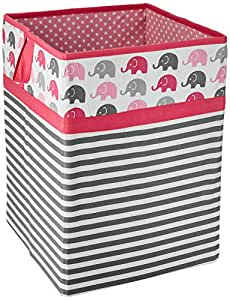 Bacati Asia Elephants Collapsible Hamper (Pink/Grey)
