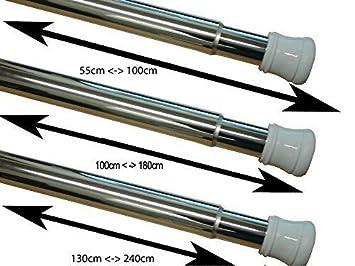 Telescopic Extendable Chrome Shower Curtain Pole Rod Rail (55 100cm U0026  130 240cm