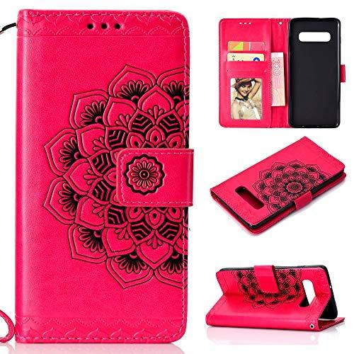 CoverKingz Handyhülle für Samsung Galaxy S10 Handy Schutzhülle, Handy Hülle mit Kartenfach, Mandala Cover Pink (Samsung Kamera Flip-cover)