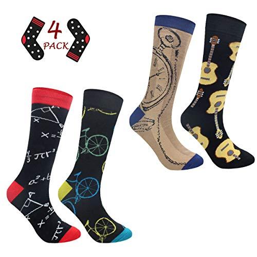 ECOMBOS Herren Socken Bunt - Baumwolle Socken Herren, Gemusterte Socken Muster Lustige Socken, Modische Socken Mehrfarbig Klassisch Baumwolle 38-45 (Fahrrad)