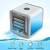 NTMY Refroidisseur d'air de l'espace personnel, mini refroidisseur d'air 3-en-1 portatif, humidificateur et purificateur, ventilateur de climatiseur de bureau avec 3 vitesses et 7 couleurs LED Light pour la salle de bains de bureau de bureau Sleep Outdoor Yoga