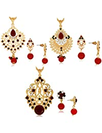 Combo Of 3 Filligeri Designer Pendant Set Studded With Color StoneCOMBO_396