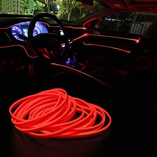 5 meter auto innenbeleuchtung auto led streifen el drahtseil auto atmosphäre dekorative lampe flexible neonlicht diy @ rot (Blau Innenraum Auto Led-leuchten)