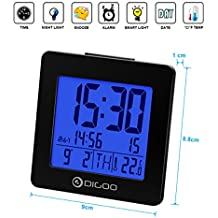 Réveil Thermomètre,DIGOO Réveil Thermomètre Horloge Numérique Calendrier Date Alarme Retroéclairé Bleu LED Grand Ecran Noir