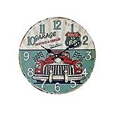 YOUJIA Vintage Pendules murales Rétro Classique Rond Horloge en bois pour Chambre, Cuisine, Bureau, Maison décoration (Voiture classique, 35cm)