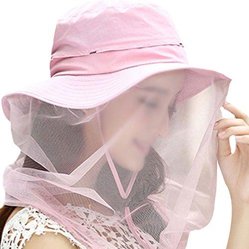 Rosa Eimer Hut (AiSi Damen Moskitonetz eleganter faltbarer Sommer Strand Breiten Rand Anti-UV Spitze Netz Sonnenhut/ Hat/ Fischerhut/ Eimer Hut/ Freizeitmütze 56-58cm Rosa)
