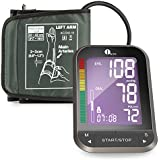 1byone Upper Arm Blood Pressure Monitor with Easy-to-Read Backlit LCD, One Size Fits All Cuff, Nylon Storage Case, Black