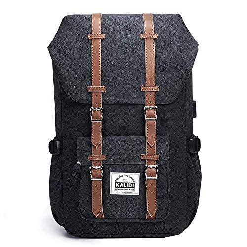 KALIDI 17 Zoll Laptop Rucksack Backpack Schulrucksack für bis zu 15.6 Zoll Laptop Notebook Computer Arbeit Campus Studenten Outdoor Reisen Wandern mit Großer Kapazität (Canvas schwarz)