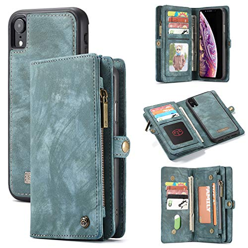 iPhone XR Hülle,Vaxiuja iPhone XR Leather Wallet Case, 2 in 1 Leather Premium Leather Foldable Flip Wallet Case Card Slots Magnetic Closure Cover Removable Wallet Folio Folio Wallet Leather Case