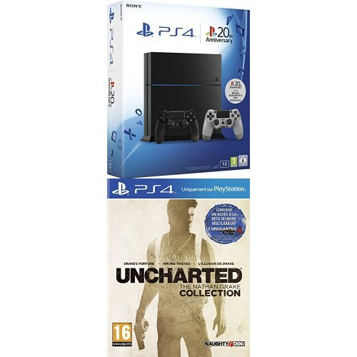 Pack PlayStation 4 1To + 2ème manette PS4 Dual Shock 4 20ème anniversaire + Uncharted : The Nathan Drake Collection