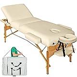 TecTake Massageliege Premium mit 10cm reiner Polsterung beige + Tasche