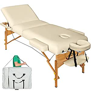 TecTake Table de massage cosmetique lit de massage beige épaisseur de coussin 10cm